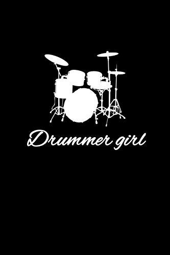 Drummer Girl: Punkteraster Dotted Notizbuch A5 - Schlagzeug Musik Notizbuch I Schlagzeuger Mädchen Band Drummer Musiker Geschenk