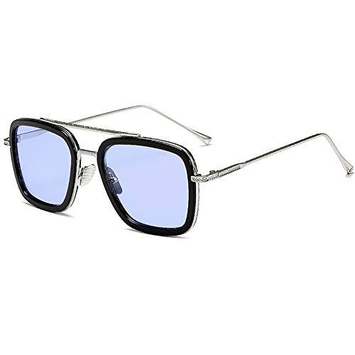 SHEEN KELLY Luxus Retro Sonnenbrille Tony Stark Brillen Quadratische Metallrahmen für Männer Frauen Klassiker Sonnenbrille Piloten Gold klare Linse