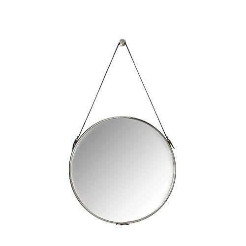 Kare Design Spiegel Hacienda Ø61cm, Wandspiegel, Schminkspiegel, Badspiegel, Flur, Wohnzimmer, großer, runder, braun, grau, (H/B/T) 61x61x5cm (Spiegelfläche), Schaumstoff (