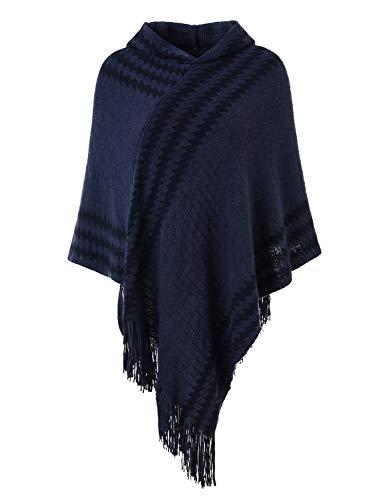 Hooded Knit Poncho (Ferand Damen mit Kapuze Zigzag Striped Knit Cape Poncho Pullover mit fransen One Size Marine Blau)