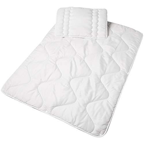 AmazonBasics Ensemble de lit avec couette 4 saisons pour bébé, Blanc, 100 x 135cm