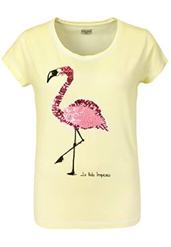 Vintage-print T-shirt Damen (Fresh Made Damen Vintage T-Shirt mit Pailletten Flamingo Yellow S)