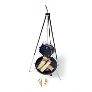 acerto 40210 Ungarischer Gulaschkessel (30 Liter) + Dreibein-Gestell (180cm) + Feuerschale (55cm) + Kaminholz Buche | Teleskop-Dreifuß mit Gulasch-Topf, Suppentopf | Große Feuerschale für draußen