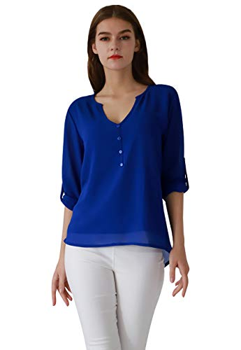 OMZIN Damen Einfarbig Chiffon Tops Bluse Damen Lose Langarm V-Ausschnitt Asymmetrisch Shirts Tops Blau XL -