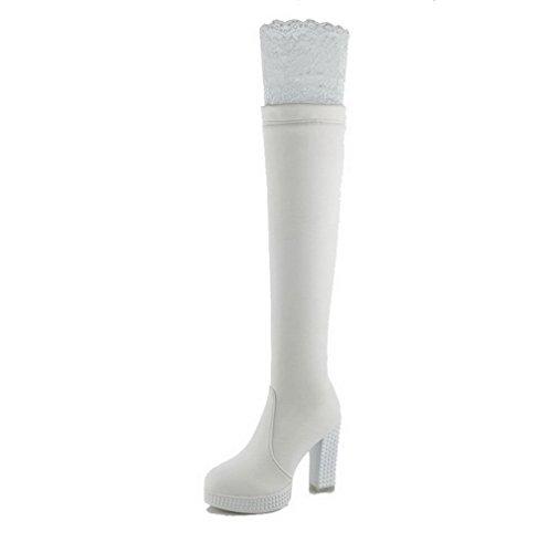 VogueZone009 Donna Tacco Alto Alta Altezza Puro Cerniera Stivali Bianco