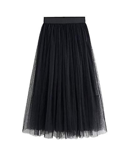 e049da74bb Primavera y Otoño Mujeres Tul Falda Joven Moda A-Line Midi Faldas de Playa  Elegante