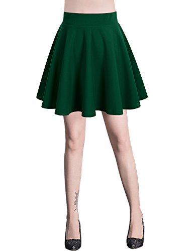 Bridesmay Damen Mini Rock Basic Solid vielseitige dehnbaren informell Minikleid Retro Sexy Rock Faltenrock Dark Green S (Voraus-rock)