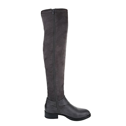 Overknee Stiefel Damenschuhe Klassischer Stiefel Blockabsatz Leicht Gefütterte Reißverschluss Ital-Design Stiefel Grau