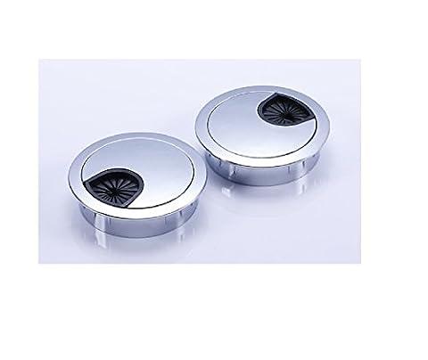 2tlg 50mm Edelstahl matt Optik Silber Kabeldurchlass Kabeldose Kabelführung
