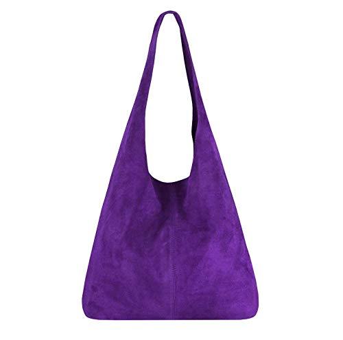 OBC Made IN Italy Damen Leder Tasche Handtasche Wildleder Shopper Schultertasche Hobo-Bag Henkeltasche Beuteltasche Velourleder (Lila (Wildleder)) (Lila Wildleder)