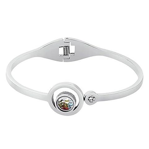 Knsam Bracelet Jonc Femme Acier Inoxydable Double Open Round with Multi Color Cristals Argent