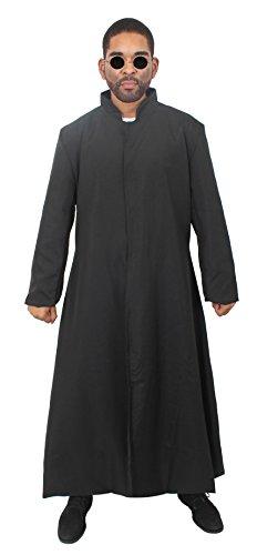Matrix Fancy Kostüm Dress - ILOVEFANCYDRESS Morpheus KOSTÜM VERKLEIDUNG Langer SCHWARZER Mantel = ERHALTBAR IN 2 VERSCHIEDENEN GRÖSSEN = KOMMT MIT Einer RUNDEN Metall Gestell Brille = XLarge