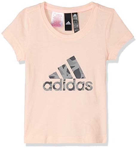 adidas Mädchen Logo Ärmelloses T-Shirt, Haze Coral Heather/Grey Five, 128 -