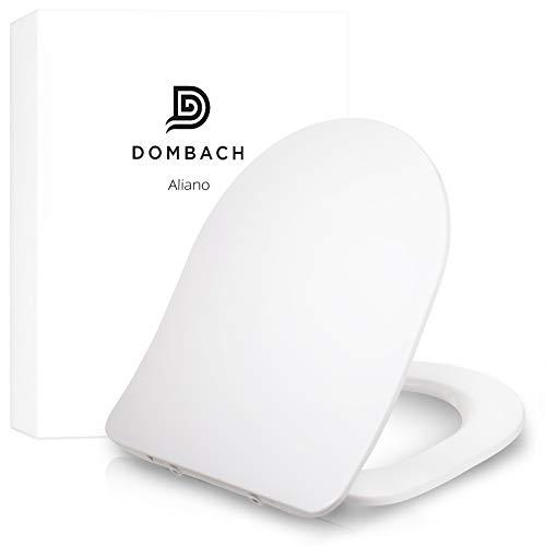 Dombach Aliano Toilettendeckel weiß DForm Slim-Design - der innovative Premium WC-Sitz mit Absenkautomatik - abnehmbar - familienfreundlich antibakteriell aus Duroplast und rostfreiem Edelstahl