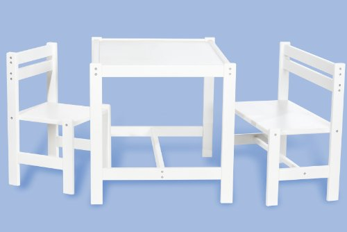 Pinolino Kindersitzgruppe Timo teilmassiv: weiß lackiert 3- teilig mit 1 Stuhl, 1 Bank, 1 Tisch