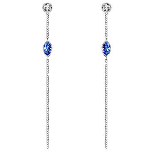 J.RENEÉ Pendientes Mujer Largos con Cristales de Swarovski Azul, Pe