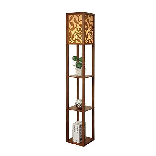 Chinesische Geschnitzte Wohnzimmer Stehlampe Fernbedienung Schlafzimmer Nachttischlampe Kreative Lagerung Regal Tischlampe 0713P (Color : A) (Chinesische Stehlampe)