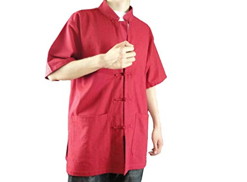 Interact China Lin Premium Chemise Rouge Kung Fu Tai Chi Homme Col Mao Sur  Mesure   4a007d25004