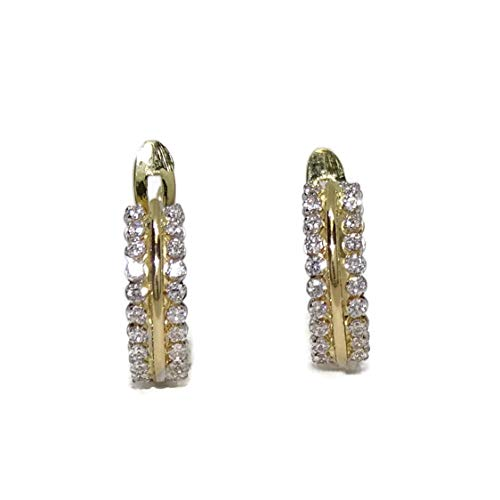 orecchini in Oro Giallo 18K con zirconi per Bambina chiusura Pala 1.1cm di alti