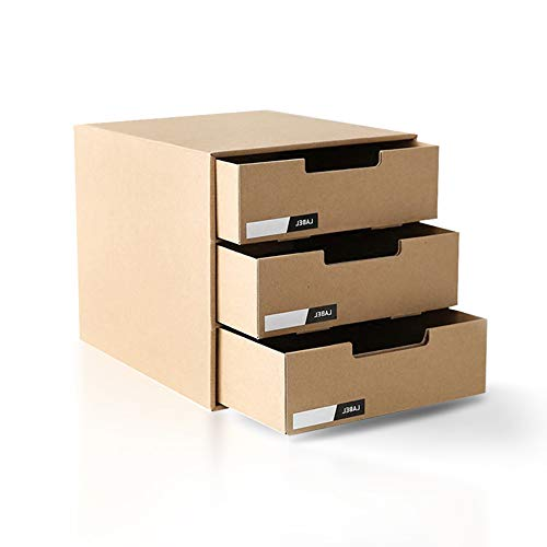 FONGFONG Datei Organizer Schubladenbox, Systembox Pappe Bürobox Zeitschriftenhalter Dokumente Organizer Aufbewahrungsbox Schreibtisch Speicherorganisator mit 3 Geschlossenen Schubladen
