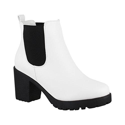 Elara Damen Stiefelette | Bequeme Ankle Boots| Chunkyrayan 2018 C166-White-40