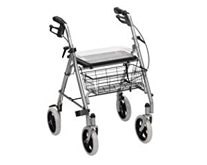 Aquarius Drive Robust Steel 4 Wheel Rollator Walker with Seat & Basket SR8 Lightweight Support Frame on Wheels with Brakes Folding For Storing
