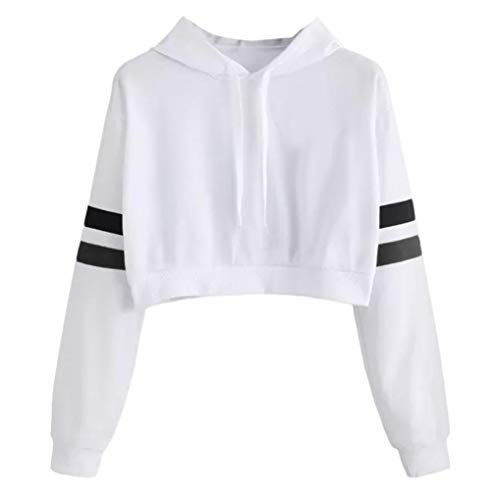 MIRRAY Damen Solide Streifen Langarm Hoodie Sweatshirt mit Kapuze Pullover Tops Bluse