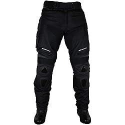 Roleff Racewear Pantalon Moto Textile/Mesh et Cuir, Noir, L