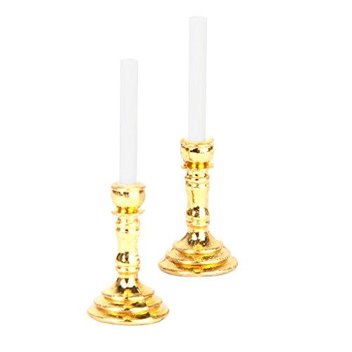 Preisvergleich Produktbild Paar 1:12 Puppenhaus Miniatur Leuchter weiße Kerzen