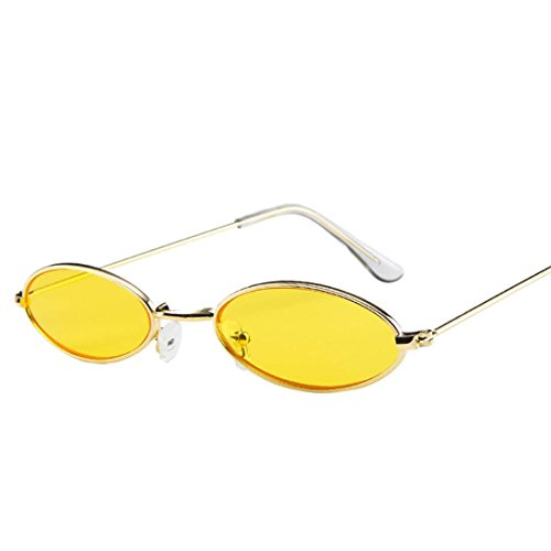 Huhu833 Mode Unisex Retro kleine ovale Sonnenbrille Metallrahmen Shades Eyewear Reise Sonnenbrille (Gelb)