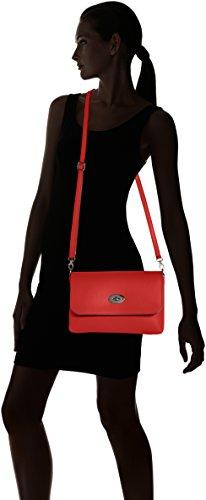 CTM Pochette da Donna, borsetta con tracolla interna, vera pelle made in Italy - 26x18x6 Cm Rosso