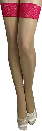 Unbekannt Halterlose Strümpfe 40 den leicht glänzend versch. Spitzenabschlüsse mit Silikon alle Farben alle Größen (L, haut-pink)