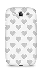 Amez designer printed 3d premium high quality back case cover for Samsung Galaxy S3 i9300 (grey hearts)