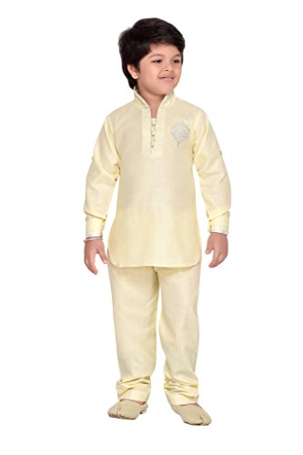 AJ Dezines Baby Boys Pathani Suit for Kids (709_LEMON_1)