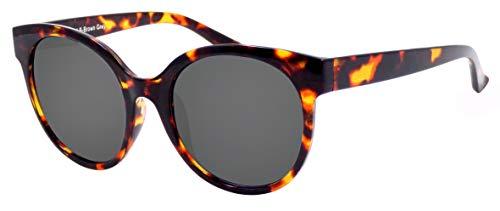 La Optica B.L.M. UV 400 CAT 3 Unisex Damen Frauen Sonnenbrille Rund Groß - Einzelpack Glänzend Tortoise (Gläser: Grau)_LO14 B-Brown Grey