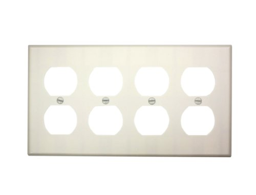 Leviton 88041 4-Gang Duplex Device Receptacle Wallplate, Thermoset, Device Mount, White by Leviton