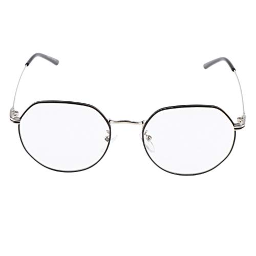 Baoblaze Klassische Brille Metallgestell Brillenfassung Vintage Brillen Dekobrille Nerdbrille Lesebrille - Schwarzes Silber