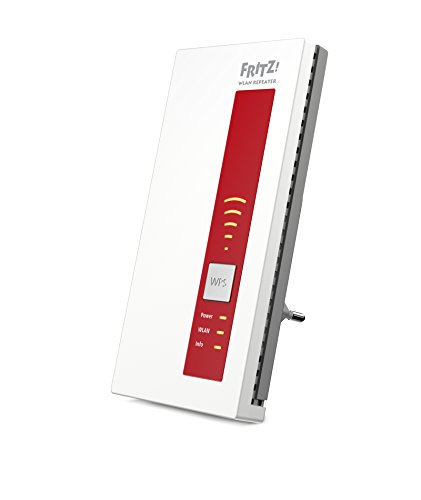 AVM FRITZ!WLAN Repeater 1160 (Dual-WLAN AC + N bis zu 866 MBit/s 5 GHz + 300 MBit/s 2,4 GHz,  internationale Version) rot/weiß