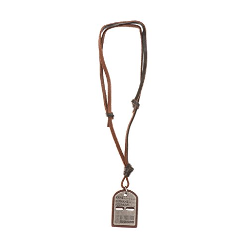 Phenovo Vintage PU Leather Dog Tags Name Address ID Necklace Pendant Antique Silver  available at amazon for Rs.405