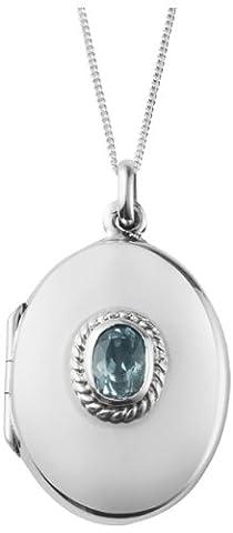 Médaillon ovale argent sterling avec topaze, avec tampon Argent 925. Le cadeau idéal pour la naissance, baptême ou Confirmation.