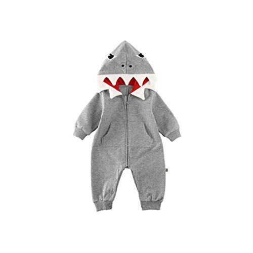 Fairy Baby Jungen Baby Mädchen 3D Karikatur Hai Kostüm Mit Kapuze Strampler Overall Kleider Size 73(6-9 Monate) - 7 Monate Alten Jungen Kostüm