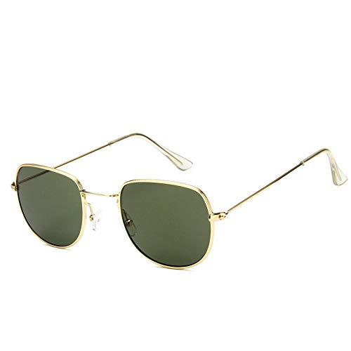 Sonnenbrille Sonnenbrille Retro Metallrahmen Uv400 Klare Linse Plain Gläser Reisen Im Sommer Sonnenbrillen Für Männer Frauen Spiegel Gold Grün (Wayfarer Gläser Plain)
