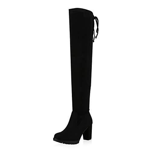 SCARPE VITA Mujer botín Zapatos sobre la Rodilla con Forro Ligero 172409 Negro 40