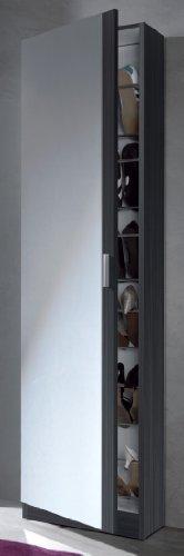 Links - Zola 7 Scarpiera a 1 porta + specchio, Melamina, Grigio Cenere, 50 x 180 x 20 cm
