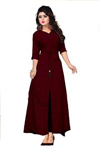 Style Rayon Plain Stitched Indo Western Kurti (maroon)