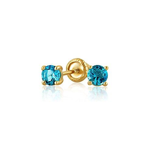 Kleine Zirkonia London Blau Simulierten Blauer Topas CZ Runde Solitär Ohrstecker Echte 14K Gelb Gold Screwback