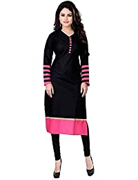 Clothfab Women's Cotton Kurti (Black_Free Size)