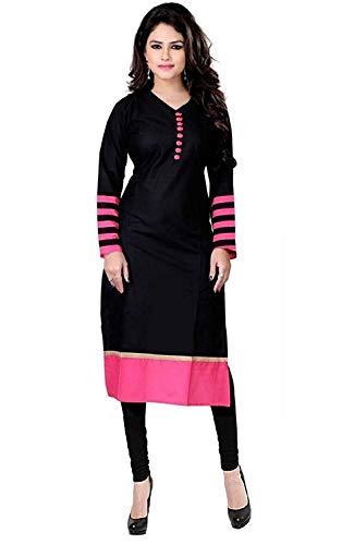 Clothfab Women\'s Cotton Kurti (Black_Free Size)