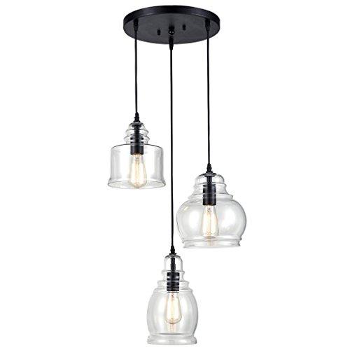 Linear-glas-anhänger (Modern Deckenlampe Vintage Küche lineare Insel Glas Kronleuchter Anhänger Leuchte-3 Lichter Balkon Schlafzimmer)