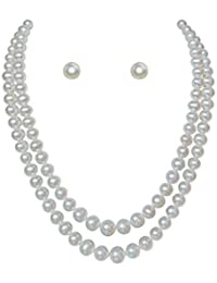 Classique Designer Silver Alloy With Gold Plated Round Pearl Necklace Set For Women(CP296)